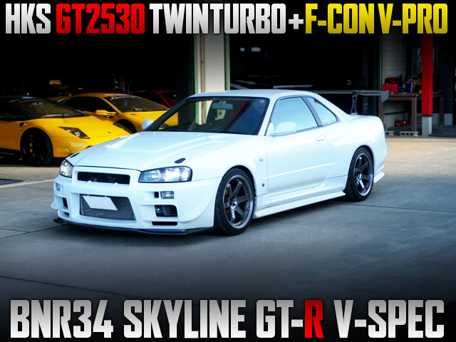 GT2530 TWINTURBO And F-CON V-PRO INTO R34 GT-R V-SPEC TO WHITE.