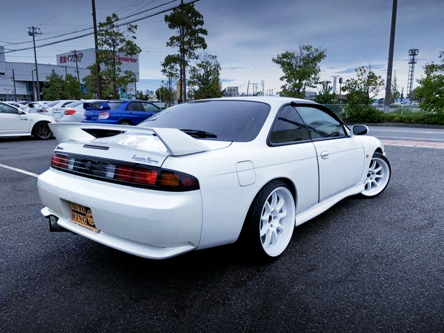 REAR EXTERIOR OF S14 SILVIA KOUKI WHITE.
