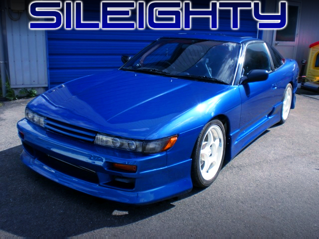 S13 SILVIA FRONT END AND BLUE METALLIC PAINT OF 180SX TYPE-X.