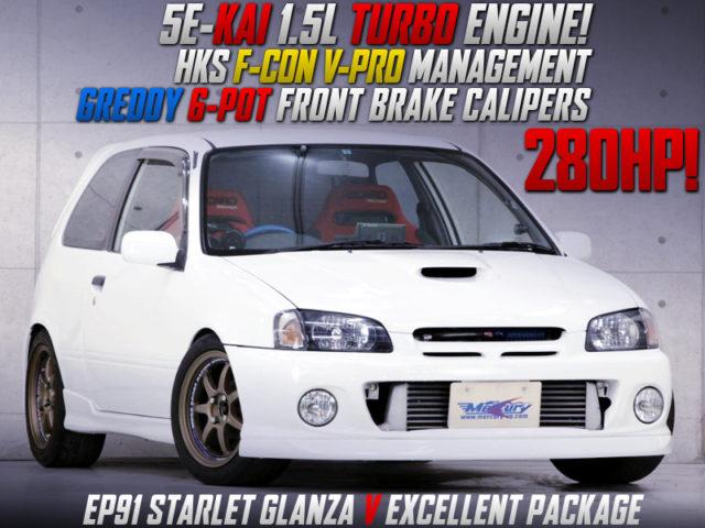 5E-FTE 1500cc TURBO ENGINE INTO EP91 STARLET GLANZA V EXCELLENT PKG.