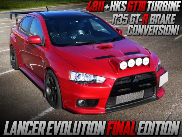 HKS GT3 TURBINE And R35 BRAKE CONVERSION OF LANCER EVOLUTION FINAL EDITION.