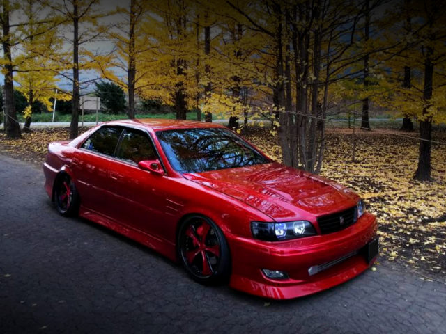 FRONT EXTERIOR OF JZX100 CHASER TOURER-V CANDY RED.