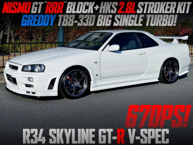 NISMO GT500 BLOCK and T88-33D SINGLE TURBO INTO R34 GT-R V-SPEC.