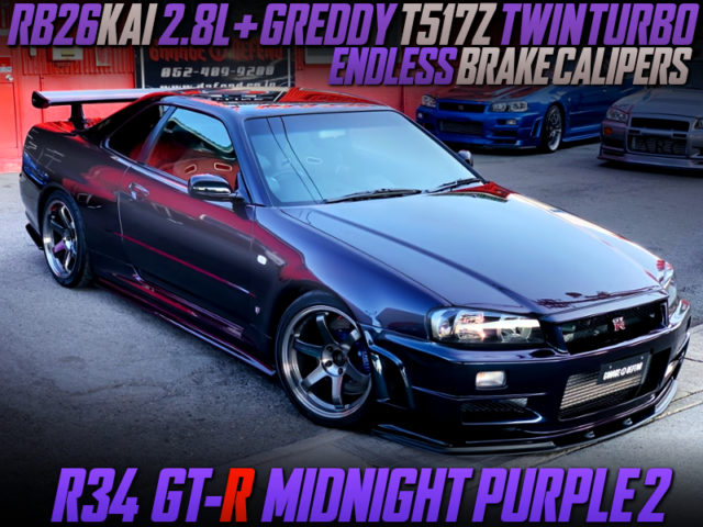 RB26 With 2.8L And T517Z TWINTURBO INTO R34 GT-R MIDNIGHT PURPLE 2.