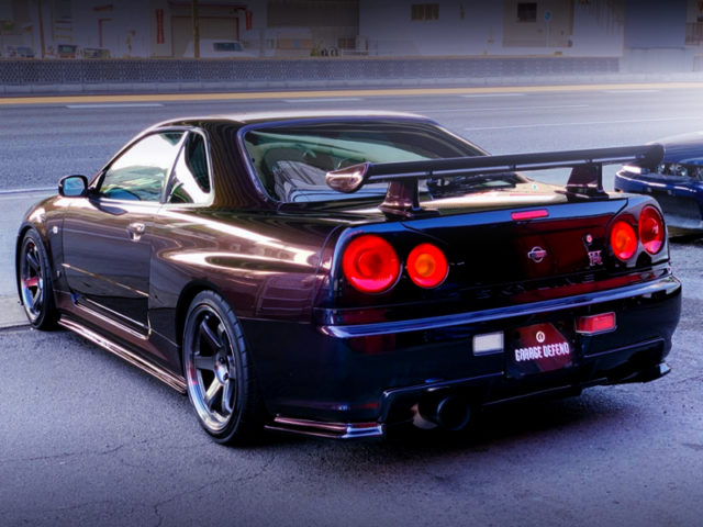 REAR EXTERIOR OF R34 GT-R MIDNIGHT PURPLE 2.