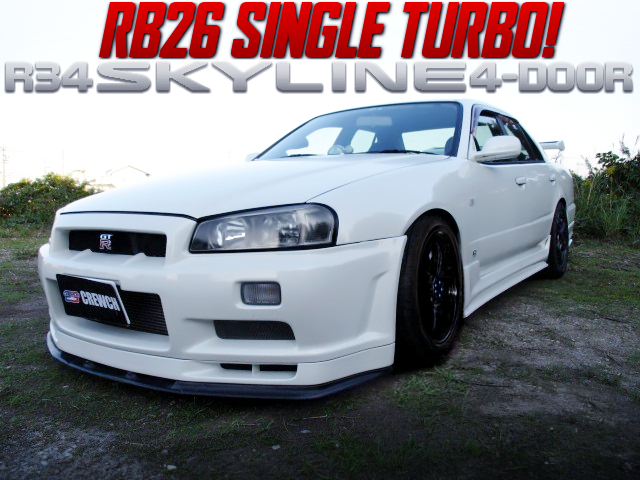 RB26 SINGLE TURBO SWAPPED R34 SKYLINE 4-DOOR.