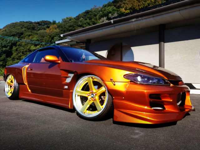 FRONT SIDE EXTERIOR OF S15 SILVIA TO R35 ULTIMATE SHINY ORANGE.