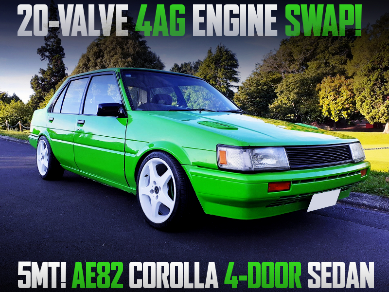 20V 4AG SWAP AND 5MT INTO AE82 COROLLA 4-DOOR SEDAN GREEN.