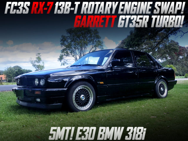 GARRETT GT35R TURBO ON 13B-T ROTARY ENGINE SWAPPED E30 BMW 318i 4-DOOR.