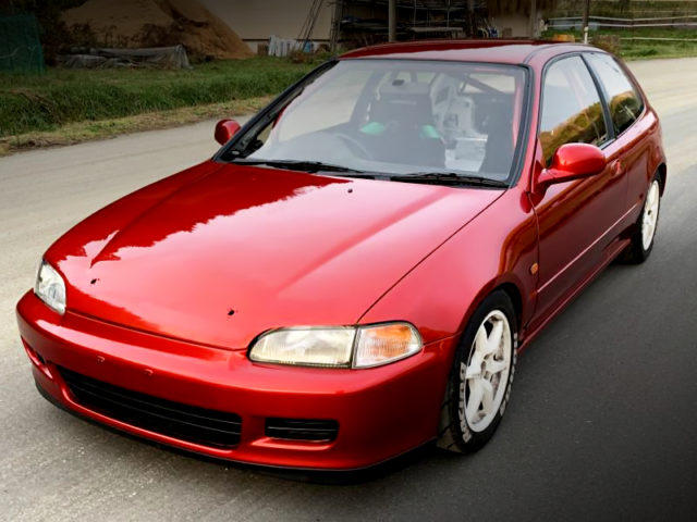 FRONT EXTERIOR OF EG6 CIVIC TO SOUL RED CRYSTAL PAINT.