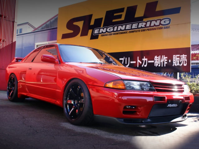 FRONT EXTERIOR OF R32 GT-R TO RED PAINT.