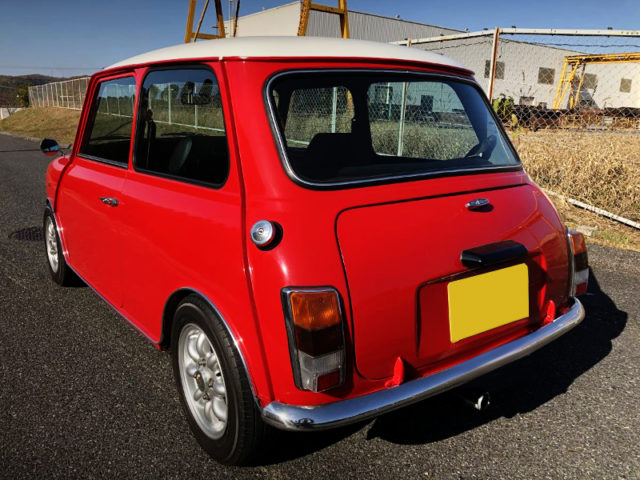 REAR EXTERIOR OF CLASSIC MINI.
