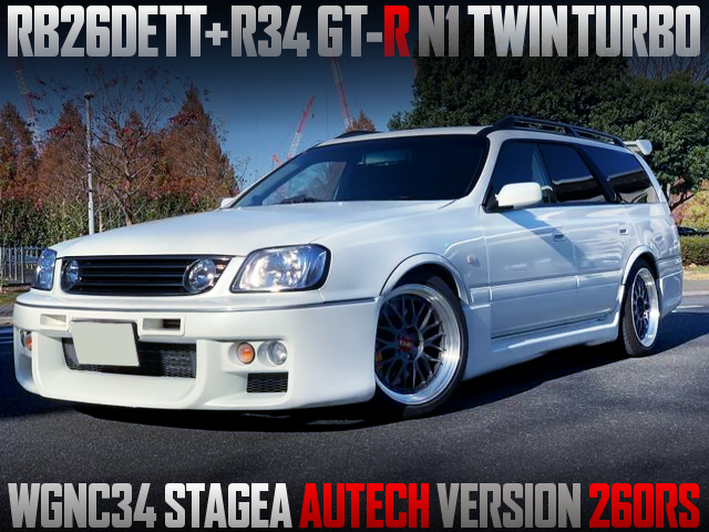 RB26DETT with R34 N1 TWINTURBO INTO WGNC34 STAGEA 260RS.