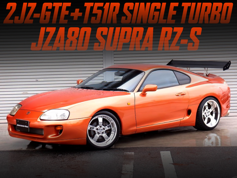 T51R SINGLE TURBO ON 2JZ-GTE INTO JZA80 SUPRA RZ-S ORANGE.