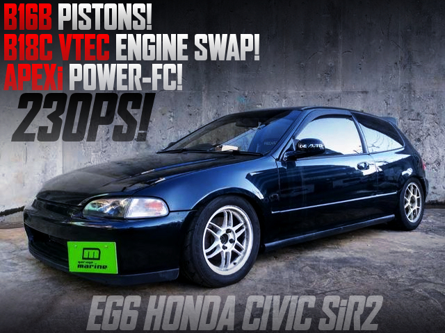 B16B PISTONS into B18C VTEC ENGINE SWAPPED EG6 CIVIC SiR2.