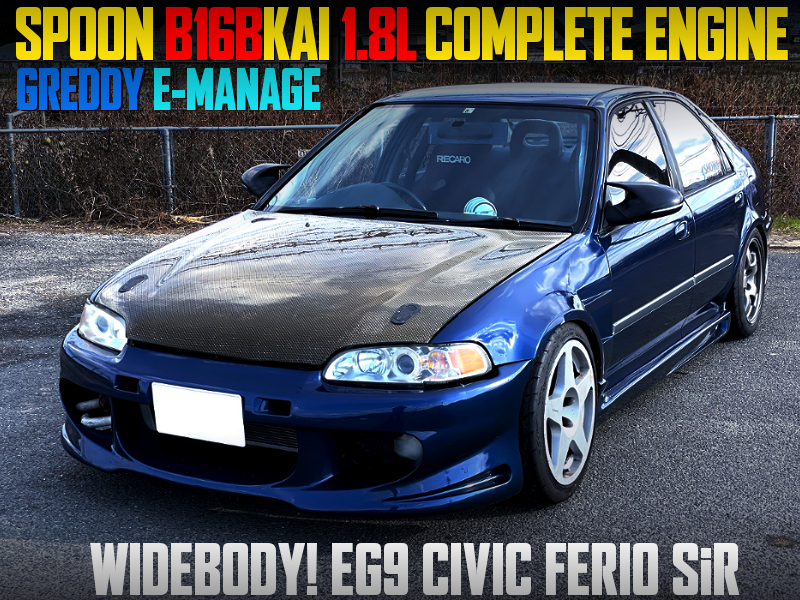 SPOON B16B 1.8L COMPLETE ENGINE INTO EG9 CIVIC FERIO WIDEBODY.