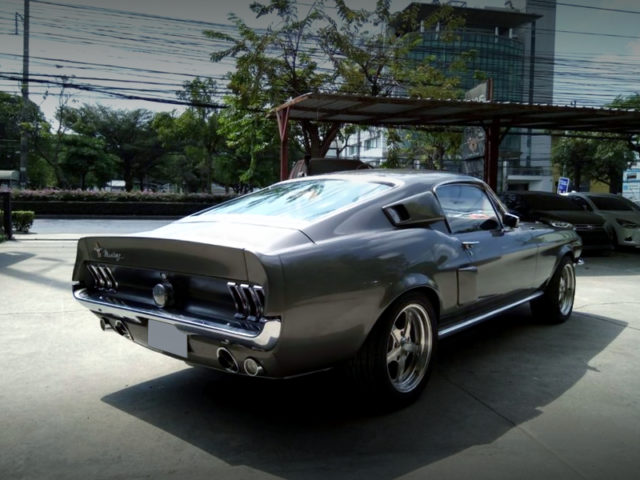 REAR EXTERIOR OF 1st Gen Ford Mustang Fastback.