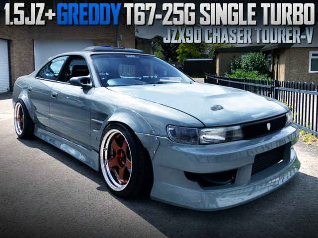 1.5JZ with T67-25G SINGLE TURBO INTO JZX90 CHASER TOURER-V WIDEBODY.