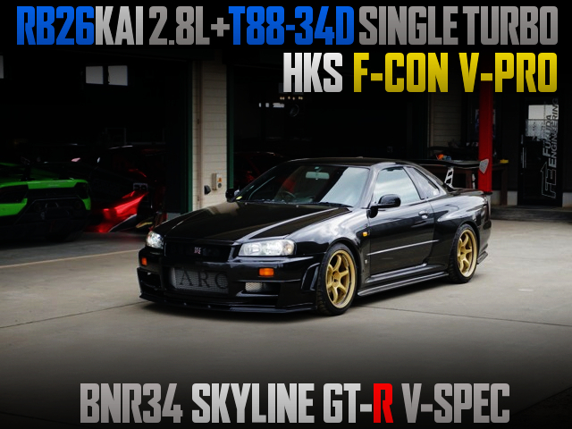 RB26 with 2.8L KIT and T88-34D SINGLE TURBO INTO R34 GT-R V-SPEC BLACK.