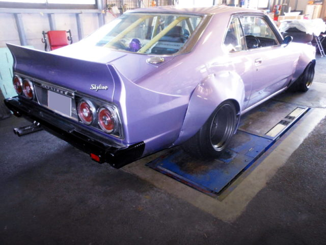 REAR EXTERIOR OF HGC211 SKYLINE JAPAN WORKS and PURPLE PAINT.