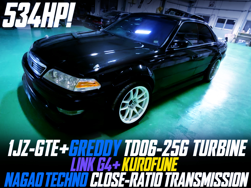 534HP TD06-25G TURBOCHARGED 1JZ-GTE with CLOSE-RATIO GEARBOX into JZX100 MARK2.