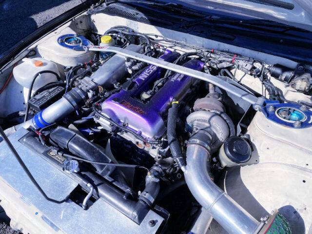 S14 SR20DET BLACKTOP TURBO ENGINE into S13 SILVIA ENGINE ROOM.