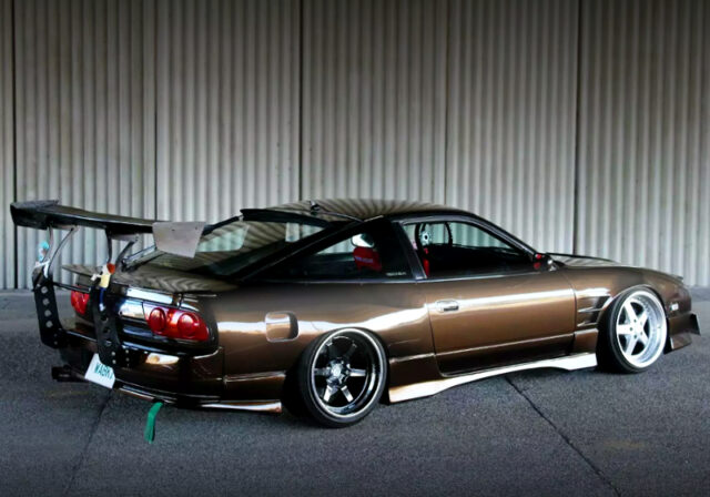 REAR EXTERRIOR OF 180SX TYPE-X WIDEBODY with BMW BROWN.