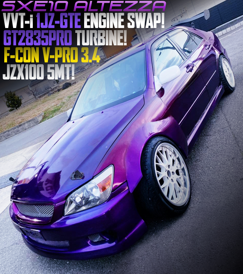 1JZ-GTE SWAP with GT2835PRO TURBO into SXE10 ALTEZZA PURPLE.