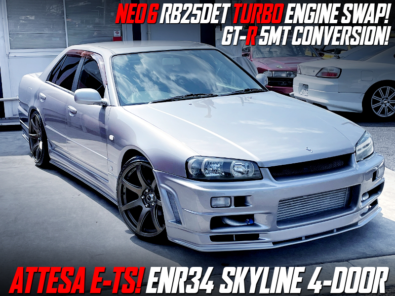 RB25DET and GT-R 5MT SWAPPED ENR34 SKYLINE 4-DOOR 25GT-FOUR.