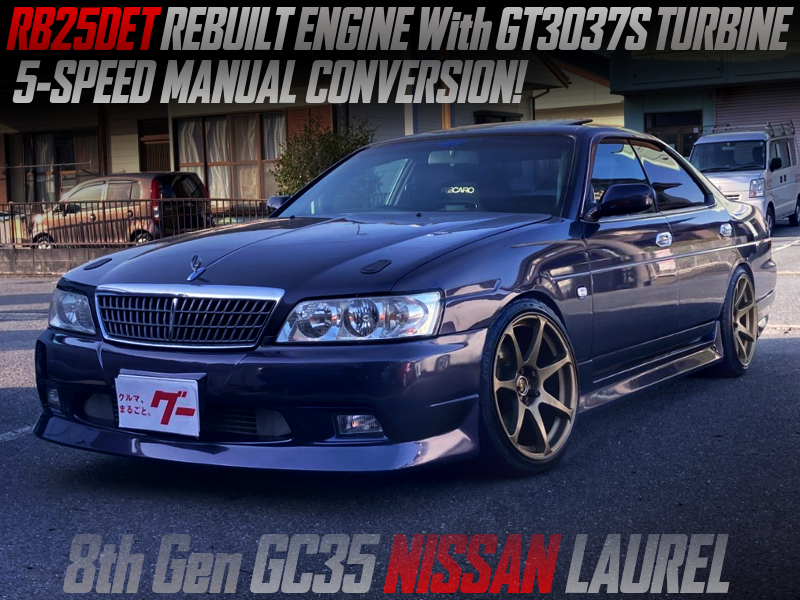 RB25DET REBUILT ENGINE With GT3037S TURBO and 5MT into GC35 LAUREL.
