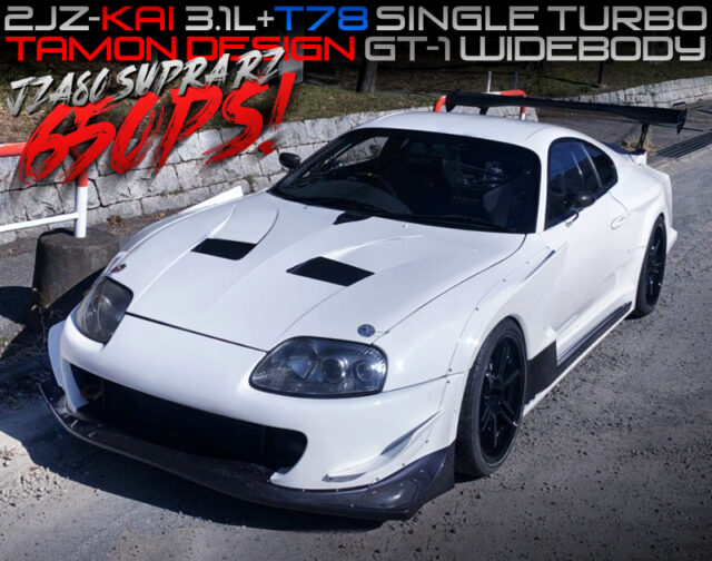 2JZ with 3.1L and T78 SINGLE TURBO into JZA80 SUPRA TAMON GT-1 WIDEBODY.
