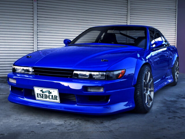 FRONT EXTERIOR OF PS13 SILVIA Ks with WIDEBODY and BLUE PAINT.