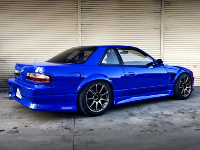 REAR EXTERIOR OF PS13 SILVIA Ks with WIDEBODY and BLUE PAINT.