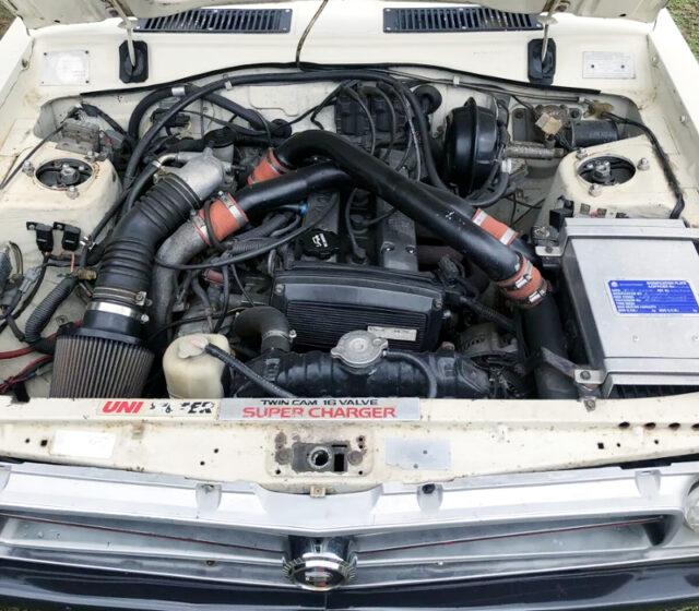 4A-GZE 1600cc SUPERCHARGER ENGINE into DATSUN 1200 UTE ENGINE ROOM.