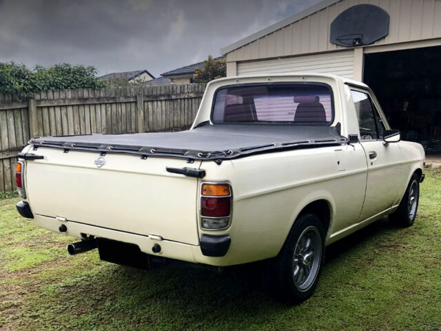 REAR EXTERIOR OF DATSUN 1200 UTE TO JDM SUNNY TRUCK.
