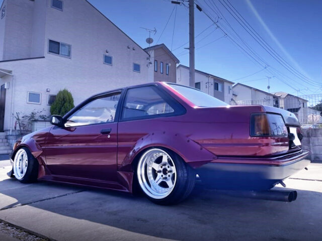 REAR EXTERIOR OF OF AE86 LEVIN with WIDEBODY and RED.