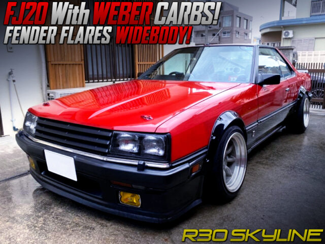 FJ20 with WEBER CARBS into R30 SKYLINE 2-DOOR RED and BLACK.