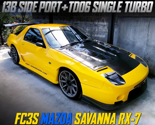 13B SIDE-PORT with TD06 TURBO into FC3S RX-7 TAMON WIDEBODY YELLOW.