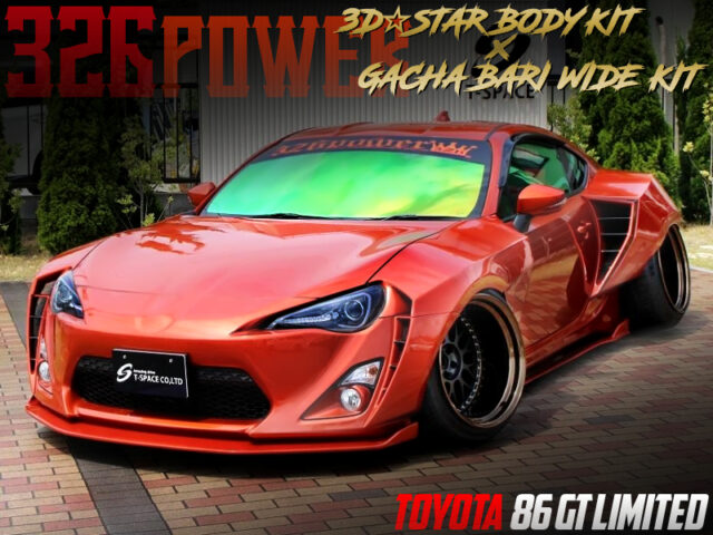 326power GACHA-BARI WIDE KIT INSTALLED TOYOTA 86 GT LIMITED ORANGE.