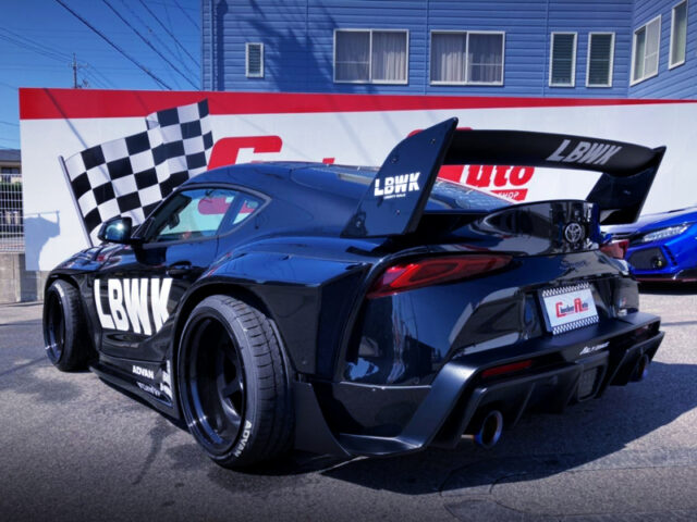 REAR EXTERIOR OF GR SUPRA RZ With LB WORKS WIDEBODY.