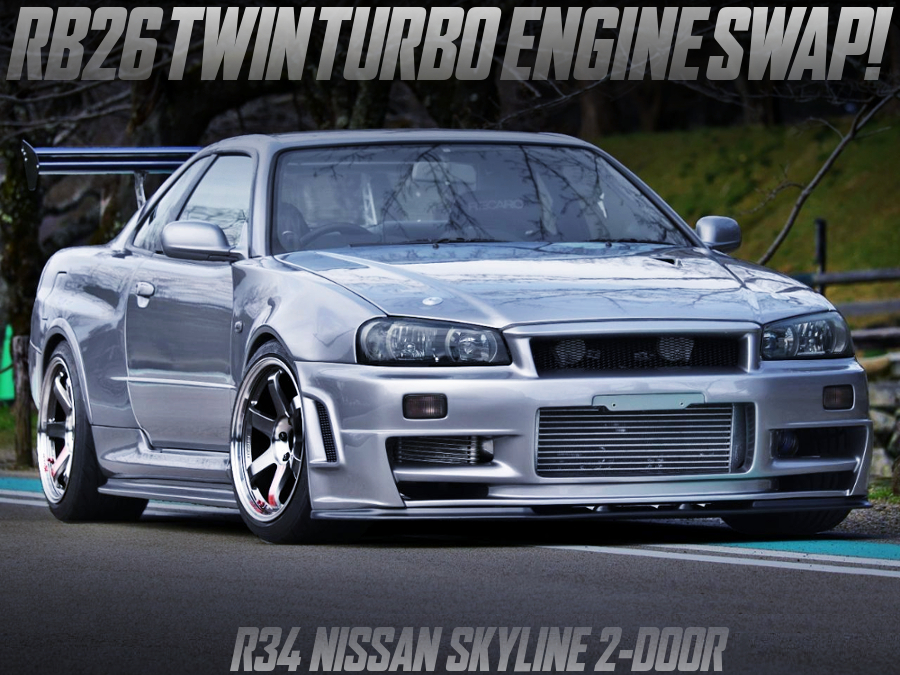 GT-R WIDEBODY LOOK and RB26 SWAP of R34 SKYLINE 2-DOOR SILVER.