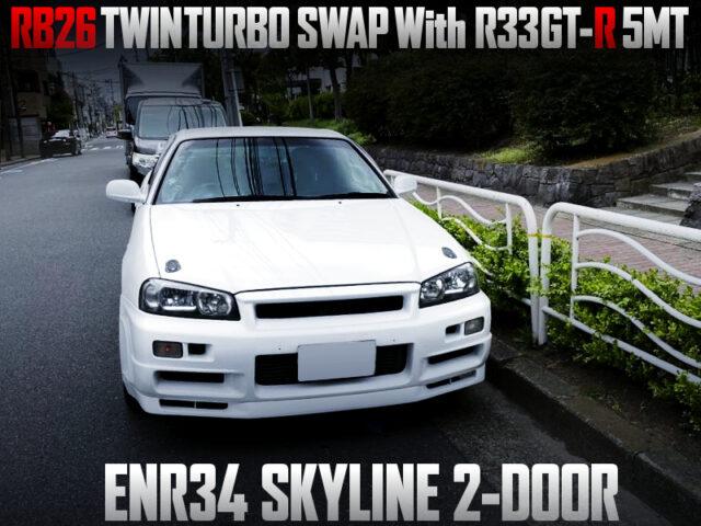 RB26DETT and R33GTR 5MT SWAPPED ENR34 SKYLINE 2-DOOR.