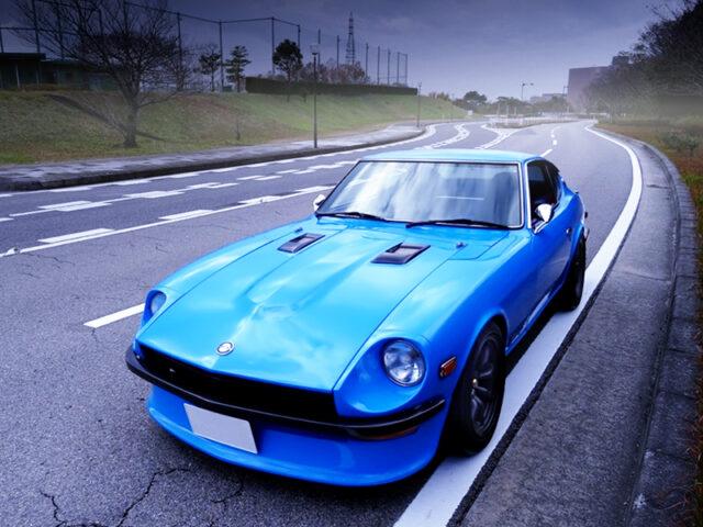 FRONT EXTERIOR OF HS30 FAIRLADY 240Z LIGHT BLUE.