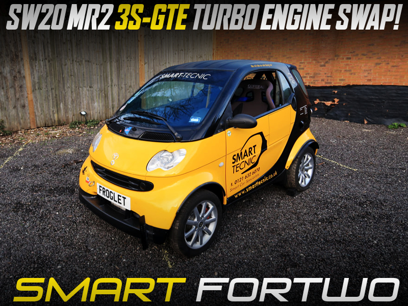 MR2 3S-GTE TURBO ENGINE and 5MT SWAPPED W450 1st Gen SMART FORTWO YELLOW BLACK.