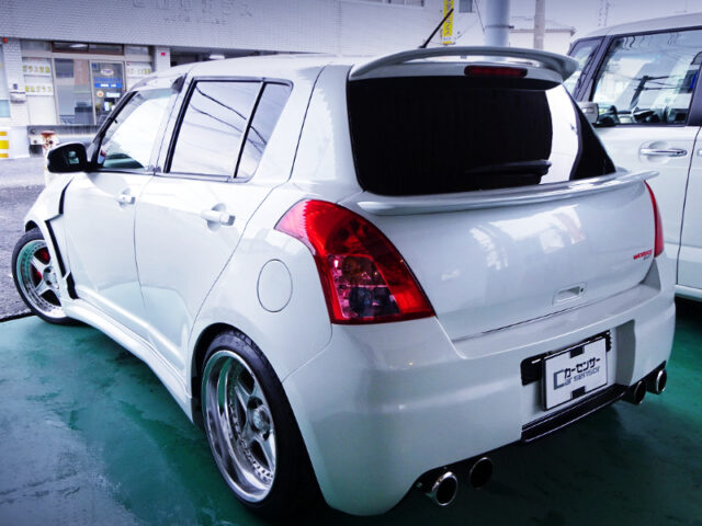 REAR EXTERIOR OF ZC31S SWIFT SPORT WIDEBODY WHITE.