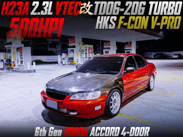 H23A 2.3L with TD06-20G TURBO into 6th Gen ACCORD 4-DOOR red.