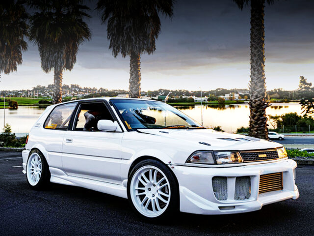 FRONT EXTERIOR OF AE92 COROLLA FX WIDEBODY.