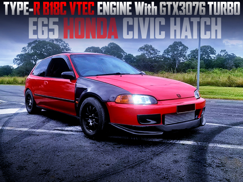 B18C with GTX3076 TURBO into EG5 CIVIC HATCH.