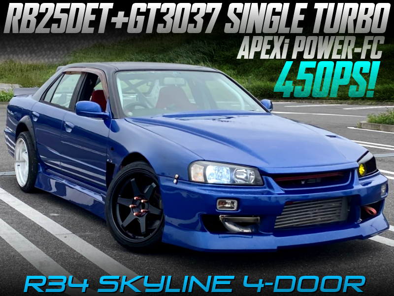 450PS GT3037 TURBOCHARGED RB25DET into R34 SKYLINE 4-DOOR.