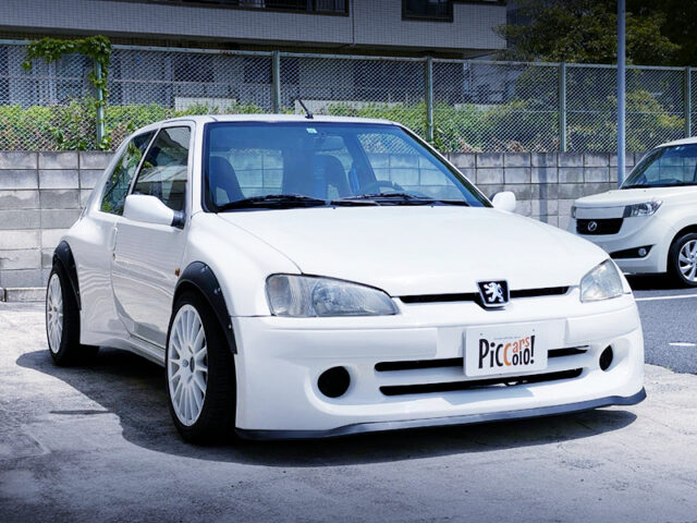 FRONT EXTERIOR OF PEUGEOT 106 S16 SERIE SPECIAL WHITE.